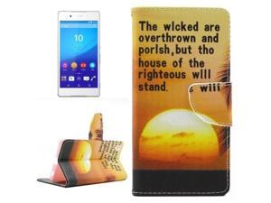 Sunset Pattern Horizontal Flip Cross Texture PU Leather Case with  Card Slots & Holder & Wallet for Sony Xperia Z4