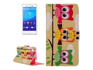Three Owls Pattern Cross Texture Flip Leather Case with Holder & Card Slots & Wallet for Sony Xperia M4 Aqua