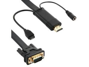 HDMI to VGA Converter Cable with Micro USB & Audio Jack, Cable Length: 3m (Black)