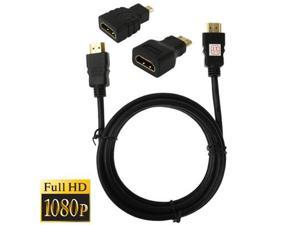 3 in 1 Full HD 1080P HDMI Cable Adaptor Kit  (1.5m HDMI Cable + HDMI to Mini HDMI Adaptor + HDMI to Micro HDMI Adaptor)