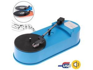 USB Mini Phonograph / Turntable / Vinyl Turntables Audio Player, Support Turntable Convert LP Record to MP3 Function (Blue)