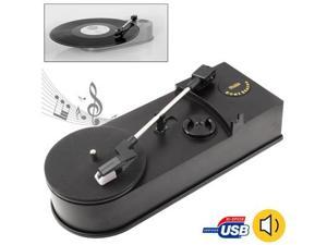 EC008B, USB Mini Phonograph / Turntable / Vinyl Turntables Audio Player, Support Turntable Convert LP Record to CD or MP3 Function (Black)