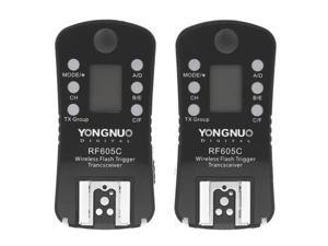 YONGNUO RF605C 2x Wireless Flash Trigger with 2x LS-2.5 Shutter Connecting Cable for Canon Camera (Black)