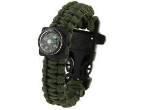Multi-functional Outdoor Flint Nylon Braided Survival Bracelets with Compass & Whistle, Length: 25cm  (Army Green)