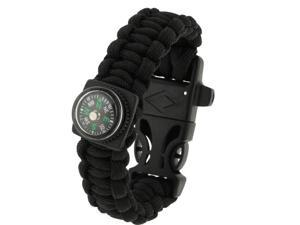 Multi-functional Outdoor Flint Nylon Braided Survival Bracelets with Compass & Whistle, Length: 25cm (Black)