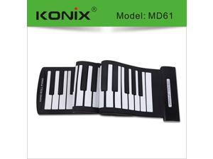 KONIX USB 61 Key MIDI Flexible Silicone Electronic Roll Up Piano MD61