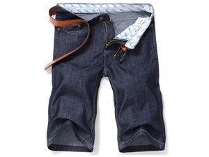 Mens Gray-black Summer Large Size Thin Denim Shorts Jeans (Size 34)