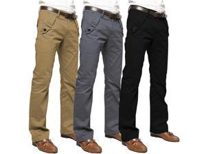 Casual Business Cotton Pants Fashion Concise Design Mens Trousers Gray 36