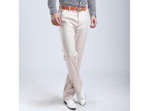 Stylish Sacks Flax Mens Pants Casual Business Straight Trousers Khaki 34