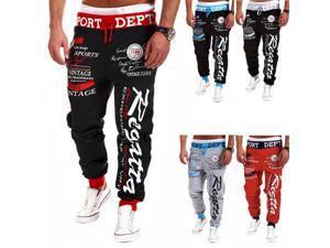Stylish Mens Lace-Up Joggjing Trousers Baggy Casual Beam Feet Sweatpants #04 S