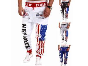 Fashion Mens Casual Jogging Trousers Stars Stripes Letters Print Sweatpants Black L