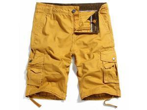 Mens Casual Cargo Shorts Multi Pocket Style 100% Cotton Washing Shorts Royalblue 40