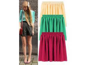 Candy Color Elastic Waist Women Summer Chiffon Pleated Mini Skirt Light Purple