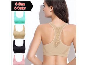 Plus Size Wireless Breathable Seamless Fixed Sport Sleeping Yoga Bra Green S