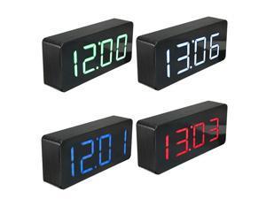 Acrylic Mirror Wooden Digital LED Alarm Clock Time Calendar Thermometer Black & Blue