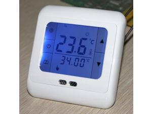 LCD Touch Screen Digital Programmable Underfloor Room Thermostat Floor Heating Control AC230V 50/60Hz 5-35 ℃ Blue