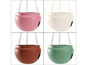 Plastic Hanging Planter Pot Home Yard Hanging Flowers Baskets With Chain White