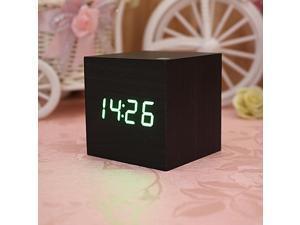 4 Colors Wooden Square LED Alarm Digital Desk Clock Thermometer Calendar Wood