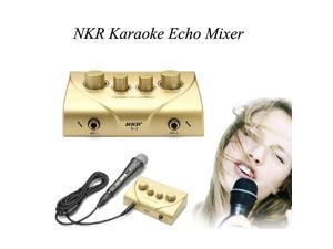 NKR Karaoke Echo Mixer With Two Microphones Sound Effect Mixer Kit Black