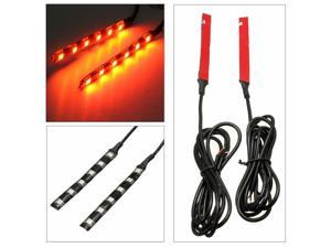 2pcs Universal Amber 6 LED Motorcycle Strip Turn Signal Indicator Blinker Light