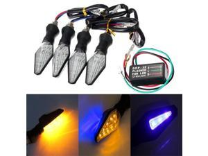 4pcs Motorcycle Amber&Blue 12LEDs Turn Signal Indicator Lamp Light With Flasher Relay