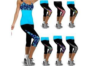 YOGA Running Sport Work out Cropped Leggings Fitness Trouser Pants 2 XS