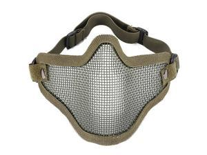 Half Face Metal Net Mesh Protect Mask Paintball Tactical Airsoft Game Face Protection, Khaki