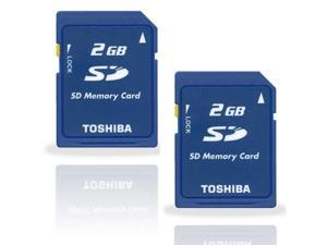LOT 2 X 2GB Toshiba 2G SD Secure Digital Flash Memory Card 2 GB Bulk w/ Protective Plastic Case
