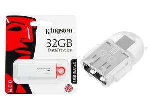 Kingston 32GB DataTraveler G4 32G 32 G USB 3.0 Flash Pen Thumb Drive DTIG4/32GB w/ OTG ADAPTER