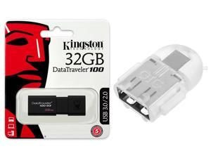 Kingston 32GB DataTraveler 100 G3 32G USB 3.0 Flash Drive DT100G3/32GB w/ OTG ADAPTER