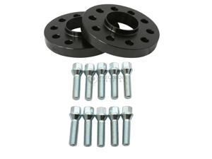20mm Hubcentric Black Wheel Spacers (5x120 72.6) for BMW with Black Lug Bolts (12x1.5, 45mm Shank)