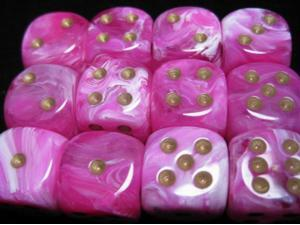 D6 16mm Pink w/Gold (12) MINT/New