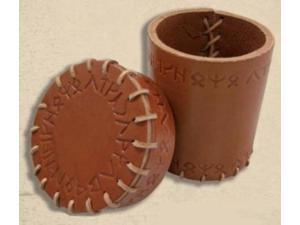 Runic Leather Dice Cup - Brown MINT/New