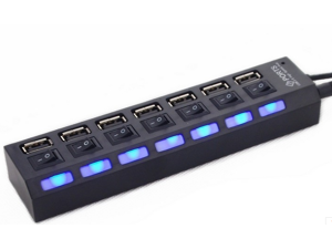 7 Ports LED USB 2.0 Adapter Hub Power on/off Switch - Black