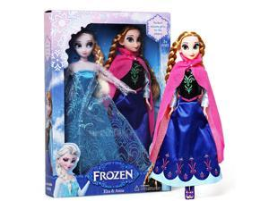 ZNUONLINE 240143 Frozen Elsa Anna Soft Stuffed Plush Toy Dolls - 29cm, 11.5 inch - 2pcs One Set