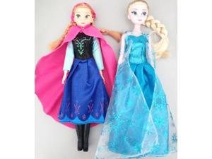 ZNUONLINE Frozen Elsa Anna Dolls Sparkle Princess Royal Sisters Soft Stuffed Plush Toy Doll Barbie for Girls