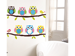 ZNUONLINE 730120 Removable Wall Decal Lovely Owls Sticker Paper