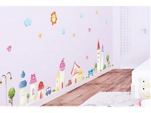 Cartoon Town Wall Paper Sticker Home Decorating Decal Art Kids Nursery Room Sitting Room Bathroom Decor Decorations Window Removable Wall Stickers Mural Stickers