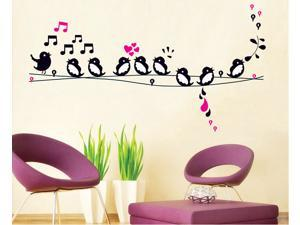 9 Birds Singing on the Wire Wall Wall Paper Sticker Home Decorating Decal Art Kids Nursery Room Sitting Room Bathroom Decor Decorations Window Removable Wall Stickers Mural Stickers