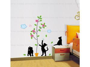 Cat And Butterfly Removable Living Room Television Background PVC Wall Stickers Wall Sticker Decals for Baby Room Kid's Bedroom Nursery Wall Decal Decor Wallpaper Home Mural Art