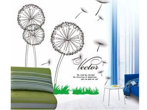 Dandelion Removable Living Room Television Background PVC Wall Stickers Wall Sticker Decals for Baby Room Kid's Bedroom Nursery Wall Decal Decor Wallpaper Home Mural Art