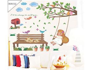Lovely Swinging Girl Removable Living Room Television Background PVC Wall Stickers Wall Sticker Decals for Baby Room Kid's Bedroom Nursery Wall Decal Decor Wallpaper Home Mural Art