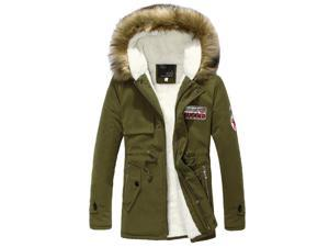 ZNU Men's Winter Warm Coat Fur Collar Hooded Trench Jacket Outerwear Army Green