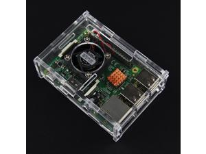 V31 Version Acrylic Case + Cooling Fan for Raspberry Pi + Copper Heat Sild(1pcs) Kit for Raspberry Pi 3 Mode B / 2B / B+