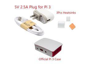 5V 2.5A Plug + Official Case + Heatsinks Kit for Raspberry Pi 3 Model B