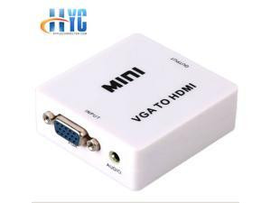 VGA to HDMI Converter with Audio Support, 1920 x 1080 Resolution Supported 1080P HDMI Male to VGA Female Adapter Video Converter with Audio Output with DTV Video Converter Box