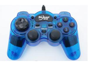Glow Blue Wired USB Controller Gamepad  PC Game Pad USB LED Wired Controller for PC & XBox 360 Wired Joypad