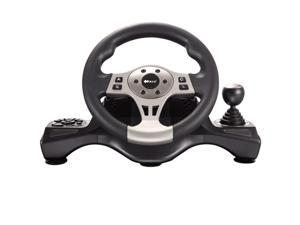 Black Star Jin Chi V66 180° force feedback PC racing game steering wheel game Vibration Racing Steering Wheel (26cm) and Pedals for PS2 PS3 PC USB
