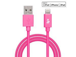 [Apple MFi Certified] LP® 8-Pin Lightning to USB Cable 3.3ft /1M Sync Charger Lead for iPhone 6 Plus 5s 5c 5, iPad Air mini mini2, iPad 4th gen, iPod touch 5th gen, and iPod nano 7th gen (Pink)