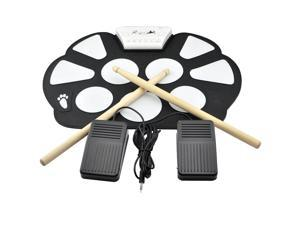 iKKEGOL Portable Kids Roll up Electronic Digital Drum Kit w/DrumStick Foot Switch Pedal
